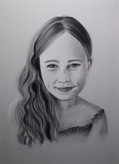 pastel drawing of a girl in monochrome